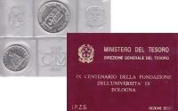 Изображение Подарочные монеты Италия Болонский университет 1988  UNC