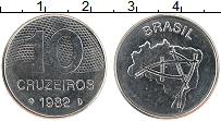 Изображение Мелочь Бразилия 10 крузейро 1982 Медно-никель UNC-