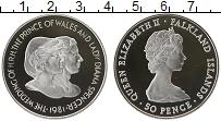 Изображение Монеты Фолклендские острова 50 пенсов 1981 Серебро Proof Елизавета II. Свадьб