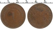 Изображение Монеты Стрейтс-Сеттльмент 1 цент 1884 Медь VF Виктория.