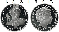 Изображение Монеты Гернси 5 фунтов 2006 Серебро Proof Елизавета II.  Гербе