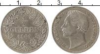 Изображение Монеты Вюртемберг 1/2 гульдена 1862 Серебро XF- Вильгельм