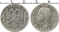 Изображение Монеты Европа Албания 5 лек 1939 Серебро XF