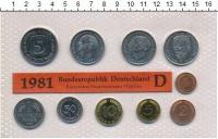 Изображение Подарочные монеты ФРГ Монеты 1981 (чеканка Мюнхен) 1981  UNC В наборе 10 монет 19