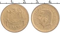Изображение Монеты Монако 1 франк 1945 Латунь XF Луи ii