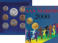 Изображение Подарочные монеты Сан-Марино Выпуск 2000 года, Основные человеческие ценности 2000  UNC Набор посвящен самым