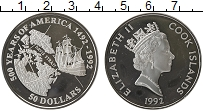 Изображение Монеты Острова Кука 50 долларов 1992 Серебро Proof Елизавета II.  500 -