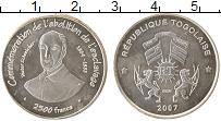 Изображение Монеты Того 2500 франков 2007 Серебро UNC-
