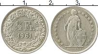 Изображение Монеты Европа Швейцария 1/2 франка 1961 Серебро XF