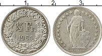 Изображение Монеты Швейцария 1/2 франка 1964 Серебро XF