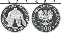 Изображение Монеты Польша 500 злотых 1987 Серебро Proof Олимпиада,хоккей