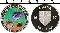 Изображение Монеты Африка Гана 100 сика 1997 Серебро Proof