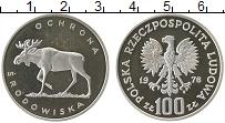 Изображение Монеты Польша 100 злотых 1978 Серебро Proof- Фауна. Лось
