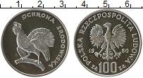 Изображение Монеты Польша 100 злотых 1980 Серебро Proof- Фауна. Глухарь