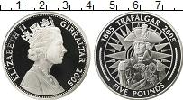 Изображение Монеты Гибралтар 5 фунтов 2005 Серебро Proof Трафальгар