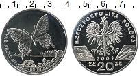 Изображение Монеты Польша 20 злотых 2001 Серебро Proof Бабочка