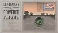 Изображение Подарочные монеты Австралия 1 доллар 2010  UNC 100-летие полета пер