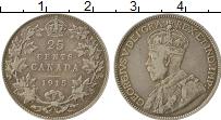 Изображение Монеты Северная Америка Канада 25 центов 1915 Серебро XF-