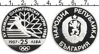 Изображение Монеты Болгария 25 лев 1987 Серебро Proof- Олимпийские игры,лыж