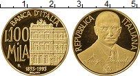 Изображение Монеты Италия 100000 лир 1993 Золото Proof- 100 лет Банку. Вес 1