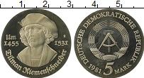 Изображение Монеты ГДР 5 марок 1981 Медно-никель Proof- 450 лет  со  дня  см