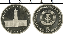 Изображение Монеты ГДР 5 марок 1987 Медно-никель Proof- Берлин. Ратуша