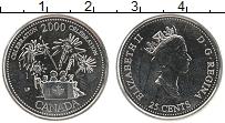 Изображение Монеты Канада 25 центов 2000 Медно-никель UNC Елизавета II.  Празд