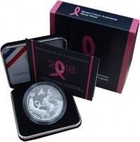Изображение Подарочные монеты США 1 доллар 2018 Серебро UNC Борьба с раком груди