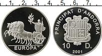 Изображение Монеты Андорра 10 динерс 2001 Серебро Proof