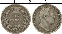 Изображение Монеты Великобритания 6 пенсов 1834 Серебро XF- Вильгельм IV
