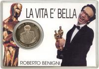 Изображение Подарочные монеты Сомали Роберто Бениньи-обладатель Оскара 1999 Медно-никель UNC Подарочная монета по