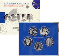 Изображение Подарочные монеты Германия 5 монет по 10 евро 2014 года 2014 Серебро Proof
