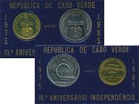 Изображение Подарочные монеты Кабо-Верде 10 лет Независимости 1985  Proof
