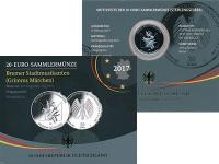 Изображение Подарочные монеты Германия 20 евро 2017 Серебро Proof J, Бременские музыка