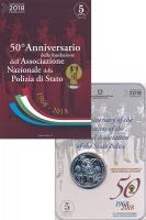Изображение Подарочные монеты Италия 5 евро 2018 Серебро UNC 50-летие Национально
