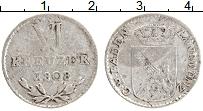 Изображение Монеты Баден 6 крейцеров 1808 Серебро VF