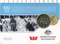 Изображение Подарочные монеты Австралия 25 центов 2016 Латунь UNC Победа