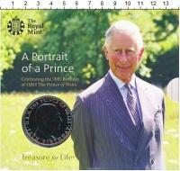 Изображение Подарочные монеты Великобритания 5 фунтов 2018 Медно-никель BUNC 70 лет Принцу Чарльз