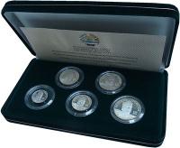 Изображение Подарочные монеты Таджикистан 10 лет независимости 2001 Серебро Proof- Набор из пяти памятн