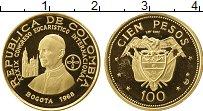 Изображение Монеты Колумбия 100 песо 1968 Золото Proof-