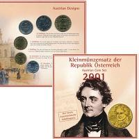 Изображение Подарочные монеты Австрия Набор 2001 года 2001  UNC В набор входят пять