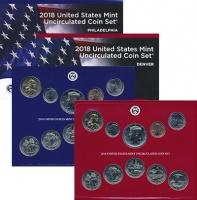 Изображение Подарочные монеты США Набор 2018 года 2018 Медно-никель UNC Два годовых набора о