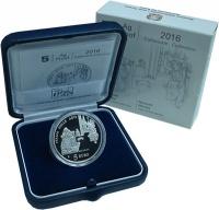 Изображение Подарочные монеты Италия 5 евро 2016 Серебро Proof Марке - Реканати.Ори