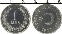 Изображение Монеты Турция 1 лира 1947 Серебро UNC-
