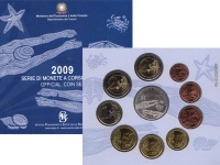 Изображение Подарочные монеты Италия Набор евромонет 2009 2009  UNC Набор состоит из 10
