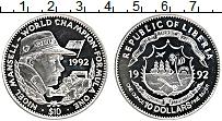 Изображение Монеты Либерия 10 долларов 1992 Серебро UNC Нигель Манселл,чемпи