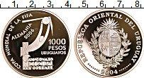 Изображение Монеты Уругвай 1000 песо 2004 Серебро Proof Чемпионат по футболу