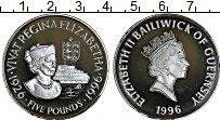 Изображение Монеты Гернси 5 фунтов 1996 Серебро Proof 70 лет Елизаветы II