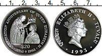 Изображение Монеты Тувалу 20 долларов 1993 Серебро Proof 40 лет коронации Ели