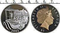 Изображение Монеты Бермудские острова 5 долларов 2003 Серебро Proof 50 лет коронации Ели